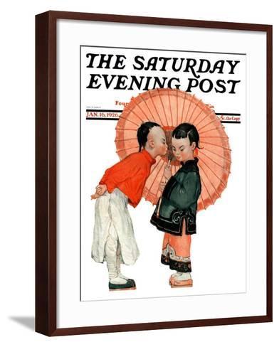 """Japanese Kiss,"" Saturday Evening Post Cover, January 16, 1926-Henry Soulen-Framed Art Print"