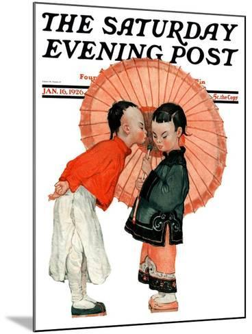 """""""Japanese Kiss,"""" Saturday Evening Post Cover, January 16, 1926-Henry Soulen-Mounted Giclee Print"""