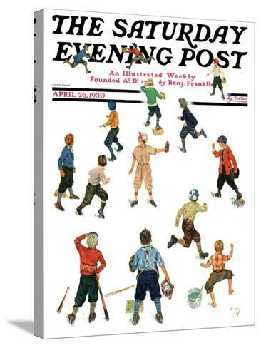 """""""Home Run,"""" Saturday Evening Post Cover, April 26, 1930-Eugene Iverd-Stretched Canvas Print"""