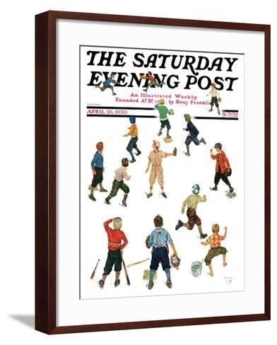 """Home Run,"" Saturday Evening Post Cover, April 26, 1930-Eugene Iverd-Framed Art Print"