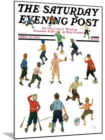 """""""Home Run,"""" Saturday Evening Post Cover, April 26, 1930-Eugene Iverd-Mounted Giclee Print"""
