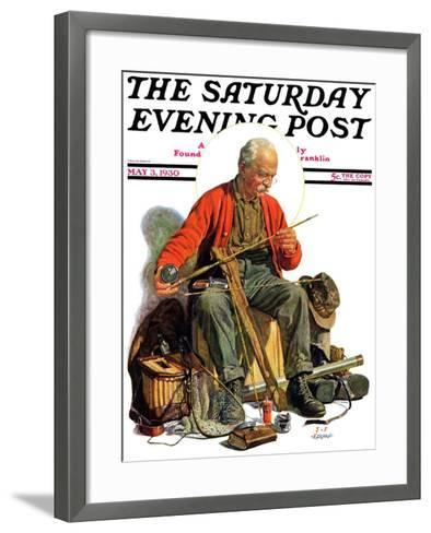 """Going Fishing,"" Saturday Evening Post Cover, May 3, 1930-J^F^ Kernan-Framed Art Print"