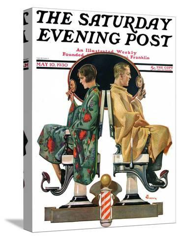 """""""Couple in Barber Chairs,"""" Saturday Evening Post Cover, May 10, 1930-Elbert Mcgran Jackson-Stretched Canvas Print"""