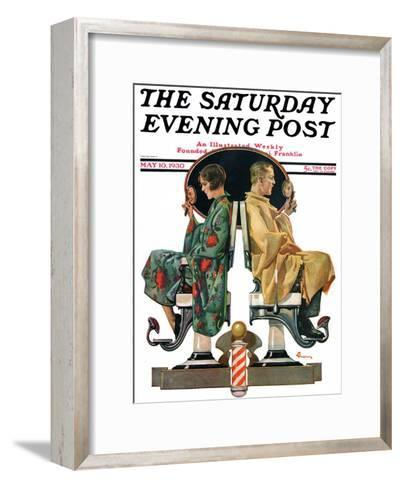 """""""Couple in Barber Chairs,"""" Saturday Evening Post Cover, May 10, 1930-Elbert Mcgran Jackson-Framed Art Print"""