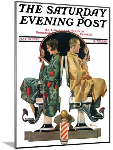 """""""Couple in Barber Chairs,"""" Saturday Evening Post Cover, May 10, 1930-Elbert Mcgran Jackson-Mounted Giclee Print"""