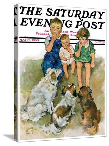 """""""Doggie Beggars,"""" Saturday Evening Post Cover, May 31, 1930-Ellen Pyle-Stretched Canvas Print"""