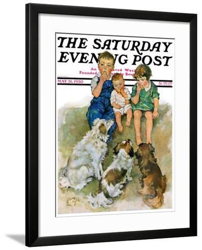 """Doggie Beggars,"" Saturday Evening Post Cover, May 31, 1930-Ellen Pyle-Framed Art Print"