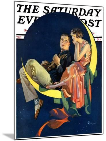 """Crescent Moon Couple,"" Saturday Evening Post Cover, June 14, 1930-Elbert Mcgran Jackson-Mounted Giclee Print"