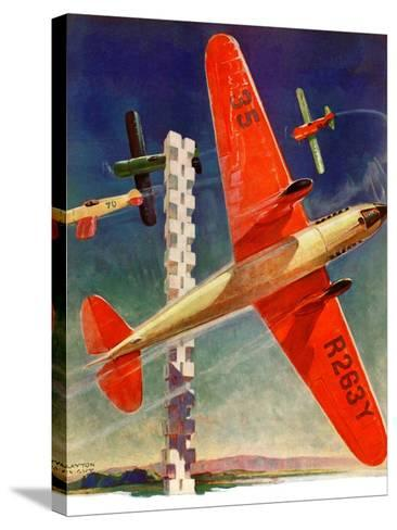"""""""Airshow,""""September 4, 1937-Clayton Knight-Stretched Canvas Print"""