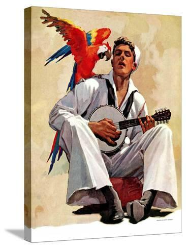 """Singing Sailor and Parrot,""October 16, 1937-John E^ Sheridan-Stretched Canvas Print"