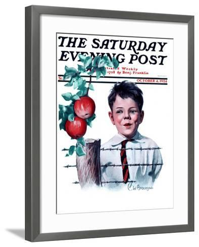 """""""Boy Tempted by Apples,"""" Saturday Evening Post Cover, October 4, 1924-Clarence William Anderson-Framed Art Print"""