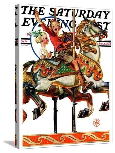 """Carousel Ride,"" Saturday Evening Post Cover, September 6, 1930-Joseph Christian Leyendecker-Stretched Canvas Print"