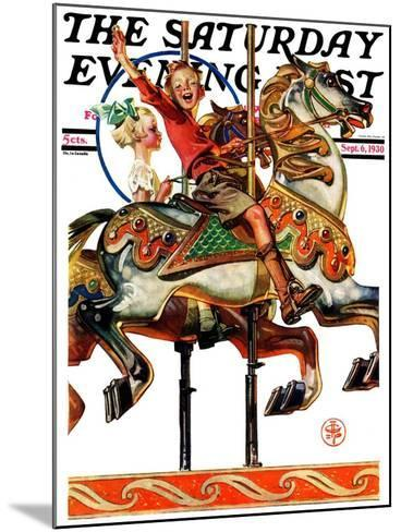 """Carousel Ride,"" Saturday Evening Post Cover, September 6, 1930-Joseph Christian Leyendecker-Mounted Giclee Print"
