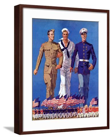 """""""Army, Navy and Marines,""""November 13, 1937-John E^ Sheridan-Framed Art Print"""
