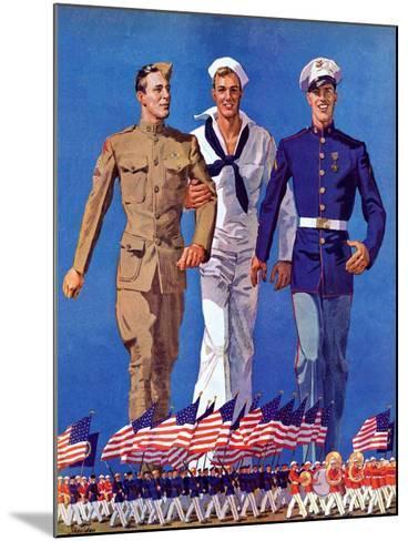 """Army, Navy and Marines,""November 13, 1937-John E^ Sheridan-Mounted Giclee Print"