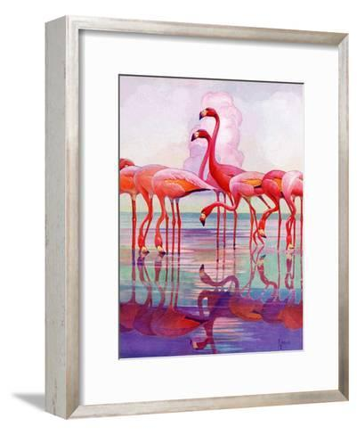 """Pink Flamingos,""January 29, 1938-Francis Lee Jaques-Framed Art Print"