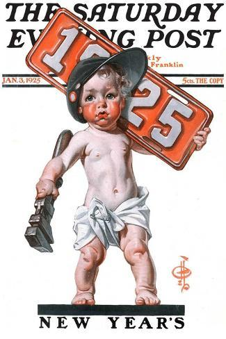 """Industrial New Years Baby with License Plate,"" Saturday Evening Post Cover, January 3, 1925-Joseph Christian Leyendecker-Stretched Canvas Print"