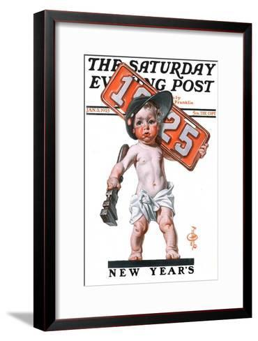 """Industrial New Years Baby with License Plate,"" Saturday Evening Post Cover, January 3, 1925-Joseph Christian Leyendecker-Framed Art Print"