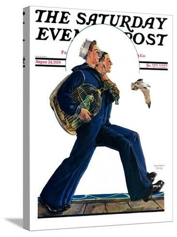"""""""Sailors on Leave,"""" Saturday Evening Post Cover, August 24, 1929-Lawrence Toney-Stretched Canvas Print"""