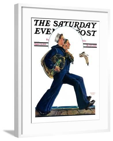 """""""Sailors on Leave,"""" Saturday Evening Post Cover, August 24, 1929-Lawrence Toney-Framed Art Print"""