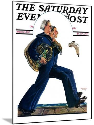"""""""Sailors on Leave,"""" Saturday Evening Post Cover, August 24, 1929-Lawrence Toney-Mounted Giclee Print"""