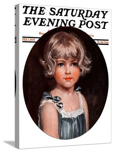 """""""Little Girl in Blue,"""" Saturday Evening Post Cover, February 7, 1925-Arthur Garratt-Stretched Canvas Print"""