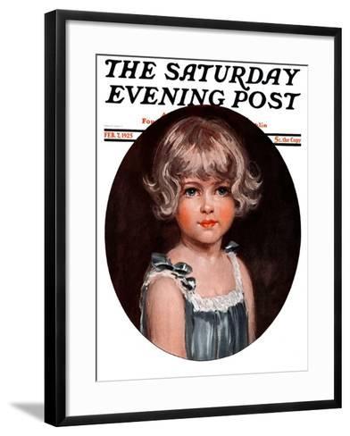 """""""Little Girl in Blue,"""" Saturday Evening Post Cover, February 7, 1925-Arthur Garratt-Framed Art Print"""