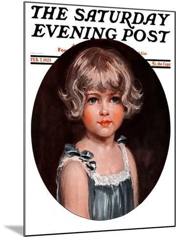 """Little Girl in Blue,"" Saturday Evening Post Cover, February 7, 1925-Arthur Garratt-Mounted Giclee Print"