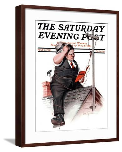 """Radio Antennae,"" Saturday Evening Post Cover, May 2, 1925-Robert C^ Kauffmann-Framed Art Print"