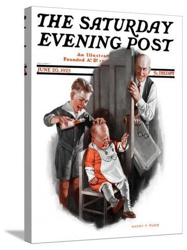 """""""Bald Baby,"""" Saturday Evening Post Cover, June 20, 1925-Harry C. Edwards-Stretched Canvas Print"""