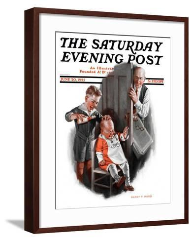 """""""Bald Baby,"""" Saturday Evening Post Cover, June 20, 1925-Harry C. Edwards-Framed Art Print"""