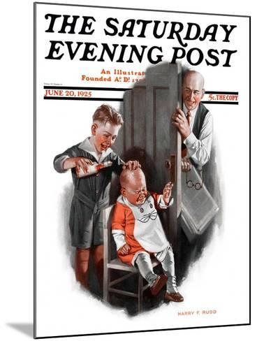 """""""Bald Baby,"""" Saturday Evening Post Cover, June 20, 1925-Harry C. Edwards-Mounted Giclee Print"""