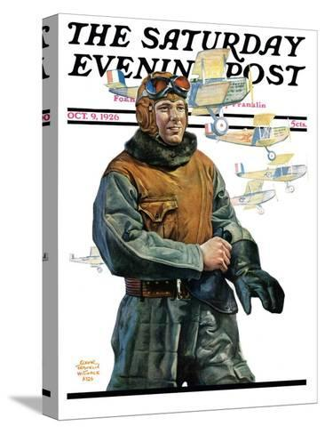 """""""Biplane Pilot,"""" Saturday Evening Post Cover, October 9, 1926-Edgar Franklin Wittmack-Stretched Canvas Print"""