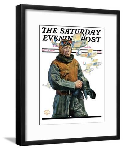 """Biplane Pilot,"" Saturday Evening Post Cover, October 9, 1926-Edgar Franklin Wittmack-Framed Art Print"