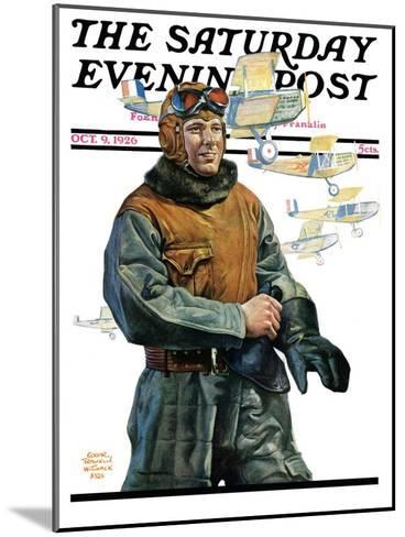 """Biplane Pilot,"" Saturday Evening Post Cover, October 9, 1926-Edgar Franklin Wittmack-Mounted Giclee Print"