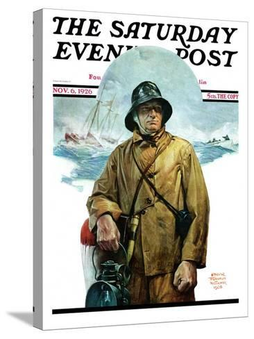"""""""Storm at Sea,"""" Saturday Evening Post Cover, November 6, 1926-Edgar Franklin Wittmack-Stretched Canvas Print"""