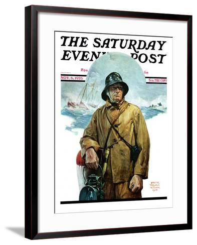"""Storm at Sea,"" Saturday Evening Post Cover, November 6, 1926-Edgar Franklin Wittmack-Framed Art Print"