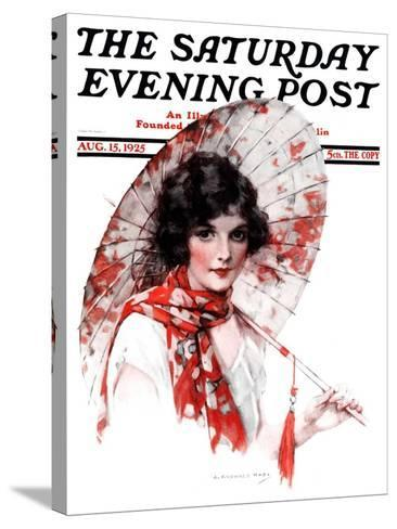 """Japanese Parasol,"" Saturday Evening Post Cover, August 15, 1925-J^ Knowles Hare-Stretched Canvas Print"