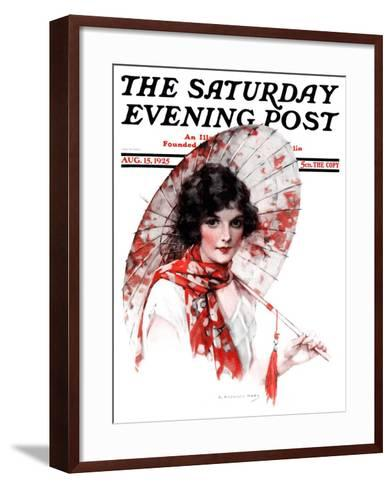 """Japanese Parasol,"" Saturday Evening Post Cover, August 15, 1925-J^ Knowles Hare-Framed Art Print"