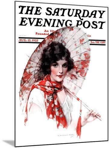 """Japanese Parasol,"" Saturday Evening Post Cover, August 15, 1925-J^ Knowles Hare-Mounted Giclee Print"