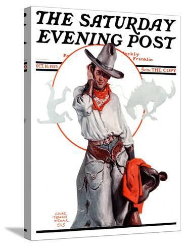 """""""Bronco Toss,"""" Saturday Evening Post Cover, October 10, 1925-Edgar Franklin Wittmack-Stretched Canvas Print"""
