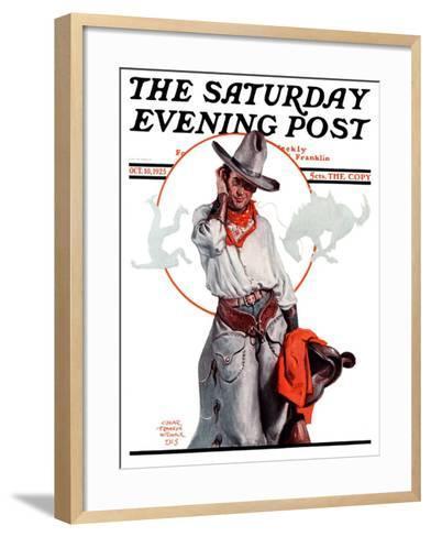 """Bronco Toss,"" Saturday Evening Post Cover, October 10, 1925-Edgar Franklin Wittmack-Framed Art Print"