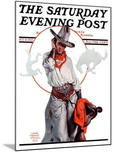 """""""Bronco Toss,"""" Saturday Evening Post Cover, October 10, 1925-Edgar Franklin Wittmack-Mounted Giclee Print"""