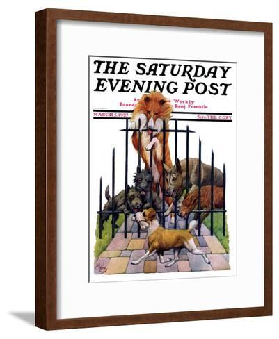 """""""Dog and His Bone,"""" Saturday Evening Post Cover, March 5, 1927-Robert L^ Dickey-Framed Art Print"""