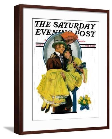 """April Shower,"" Saturday Evening Post Cover, April 23, 1927-Elbert Mcgran Jackson-Framed Art Print"