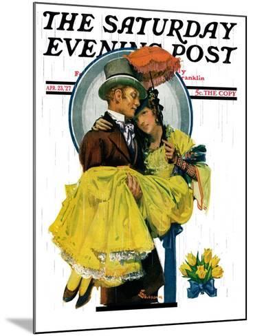 """April Shower,"" Saturday Evening Post Cover, April 23, 1927-Elbert Mcgran Jackson-Mounted Giclee Print"