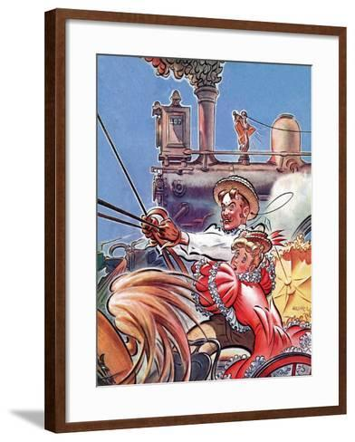 """Buggy Races Train,""May 13, 1939-Douglas H. Hilliker-Framed Art Print"