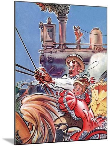 """Buggy Races Train,""May 13, 1939-Douglas H. Hilliker-Mounted Giclee Print"
