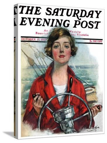 """""""Woman Sailor,"""" Saturday Evening Post Cover, October 15, 1927-William Haskell Coffin-Stretched Canvas Print"""