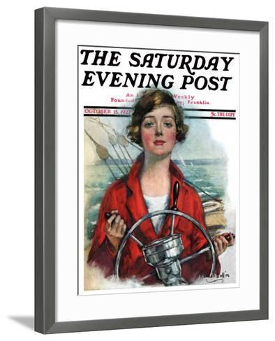 """""""Woman Sailor,"""" Saturday Evening Post Cover, October 15, 1927-William Haskell Coffin-Framed Art Print"""